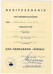 """Besitzzeugnis für das Ärmelband """" Afrika """" der Heeres-Gruppe-Afrika"""