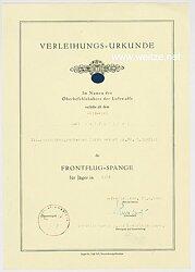 Frontflug-Spange für Jäger in Gold - Verleihungsurkunde