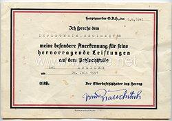 Anerkennungsurkunde des Oberkommando des Heeres für das Infanterie-Regiment 88
