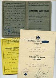 """Heer - Kleine Dokumentengruppe für einen Schirrmeister der 5.(s.mot.)/Art.Rgt.68 in Belgrad mit der Berechtigung zum Führen des Halbketten-Kfz. """" Maultier """""""