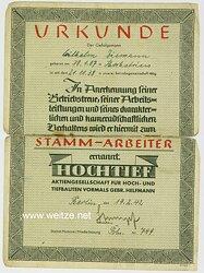 Firma Hochtief A.G. - Urkunde für einen Gefolgsmann