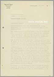 III. Reich - Originalunterschrift vom Stellvertretenen Gauleiter von Lüneburg Heinrich Peper