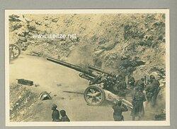 """Waffen-SS - Propaganda-Postkarte - """" Unsere Waffen-SS """" - Artillerie in einer Paßstraße"""