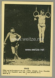 "III. Reich - holländische Hetzpropaganda-Postkarte "" Hitler almighty shows Mussolini how powerful he is. 1943 """