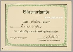 Unteroffizieranwärter-Lehrkommando - Ehrenurkunde