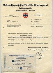 NSDAP - Reichszeugmeisterei München ( RZM ) - Verlängerungsurkunde für den Erlaubnisschein B11/57
