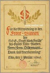 """N.S.G. """" Kraft durch Freude """" Gau Köln-Aachen - Anerkennungsurkunde"""