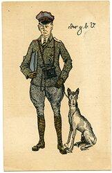 """Fliegerei 1. Weltkrieg farbige Postkarte, herausgegeben von der Jagdstaffel 63 """"Der z.b.V."""""""