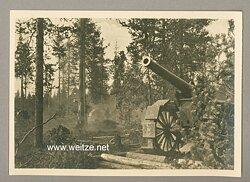 """Waffen-SS - Propaganda-Postkarte - """" Kampf der SS-Gebirgsdivision ' Nord ' in Karelien """" - Finnische Artillerie"""