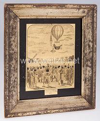 Deutschland Ballonfliegerei: Hinterglasbild der Ballonfahrt von Robertson bei Dresden am 8. Mai 1816