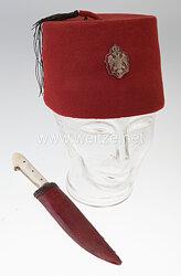 Königreich Jugoslawien Fez und Dolch aus dem Besitz eines moslemischen Offiziers