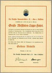 Der Deutsche Automobil-Club ( DDAC ) - Verleihungsurkunde für die Goldene Medaille