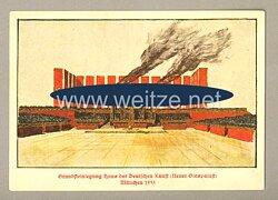 """III. Reich - farbige Propaganda-Postkarte - """" Grundsteinlegung Haus der Deutschen Kunst ( Neuer Glaspalast ) München 1933 """""""