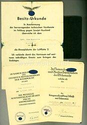 """Luftwaffe - Dokumentengruppe für einen Angehörigen des Jagdgeschwaders Mölders mit der Berechtigung das Erinnerungsband """" Mölders """" zu tragen."""