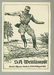 "III. Reich - Propaganda-Postkarte - "" SA-Wettkämpfe Berlin Olympia Stadion 13.-15.8.1937 """