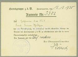 Arbeitsstab v. Leeb / Heeresgruppenkommando z.b.V. - Ausweis für eine Helferin der NSV