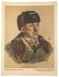 """Willrich farbiges Plakat aus der Serie - """" Junge Eichenlaubträger des Heeres """" - Hauptmann Hans Detleff von Cossel - Ritterkreuzträger"""