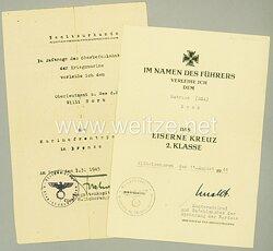 Kriegsmarine - Urkundenpaar für einen Matrosen und späteren Oberleutnant zur See d.R.
