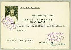 III. Reich - Turnverein Mettingen e.V. - Mitgliedsausweis