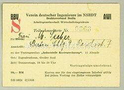 III. Reich - Verein deutscher Ingenieure im NSBDT - Teilnehmerkarte