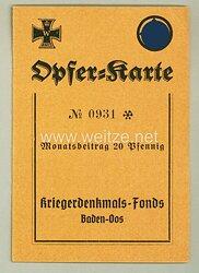 III. Reich - Kriegerdenkmal-Fonds Baden-Oos - Opfer-Karte