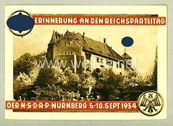 """III. Reich - farbige Propaganda-Postkarte - """" Erinnerung an den Reichsparteitag der NSDAP Nürnberg 5.-10.Sept.1934 - Burg von Westen """""""