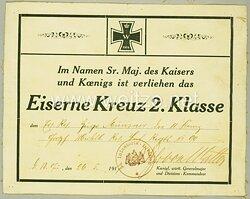 1. Weltkrieg - Originalunterschrift des Pour le Mérite mit Eichenlaub Trägers Generalleutnant Freiherr Oskar von Watter