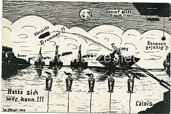 """Kaiserliche Marine - humoristische Propaganda-Postkarte """" Vorsicht Brummer !! Rette sich wer kann !!! - Dover-Calais """""""