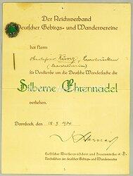 Reichsverband Deutscher Gebirgs- und Wandervereine - Verleihungsurkunde für die Silberne Ehrennadel