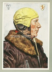 Luftwaffe - Willrich farbige Propaganda-Postkarte - Führer einer erfolgreichen Jagdgruppe