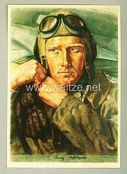 Luftwaffe - Willrich farbige Propaganda-Postkarte - Aufklärungsflieger