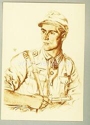 Heer - Willrich farbige Propaganda-Postkarte - Ritterkreuzträger Unteroffizier Helmuth Valentiner