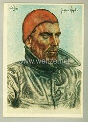 Kriegsmarine - Willrich farbige Propaganda-Postkarte - Ritterkreuzträger Kapitänleutnant Joachim Schepke