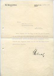 III. Reich - Originalunterschrift von Hans Julius Kehrl - Polizeipräsident von Hamburg, späterer SS-Brigadeführer und Generalmajor der Polizei
