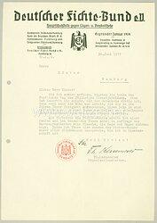 III. Reich - Deutscher Fichte-Bund e.V. - Hauptschutzstelle gegen Lügen- u. Boykotthetze - Glückwunschschreiben