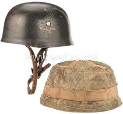 Luftwaffe Stahlhelm M 38 und Tarnüberzug für Fallschirmjäger