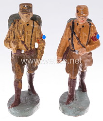 Elastolin - 2 SA Männer mit Tornister marschierend