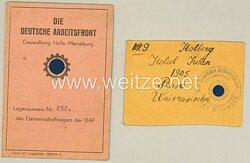Die Deutsche Arbeitsfront ( DAF ) Gauwaltung Halle-Merseburg - Lagerausweis