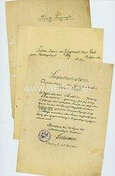 Urkundengruppe für einen Zeugfeldwebel bei der 1. Artilleriedepot-Direktion in Spandau