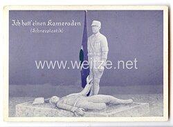 """SS - farbige Propaganda-Postkarte - """" Ich hatt' einen Kameraden ( Schneeplastik ) """""""
