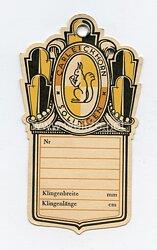 """III. Reich Herstelleretikett für Blankwaffen von """"Carl Eickhorn Solingen"""" ."""