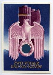 """III. Reich - farbige Propaganda-Postkarte - """" Zwei Völker und ein Kampf """" ( Deutschland-Italien )"""