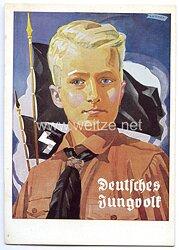 "HJ - farbige Propaganda-Postkarte - "" Deutsches Jungvolk """