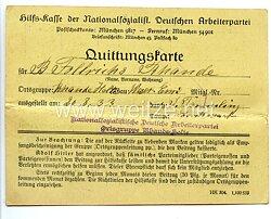 Hilfskasse der NSDAP Gau Weser-Ems - Quittungskarte