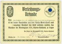 Reichsarbeitsdienst ( RAD ) - Verleihungsurkunde für das Abzeichen des Arbeitsgaues XXX Bayern-Hochland