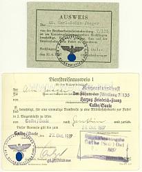RAD - 2 Ausweise für einen Arbeitsmann der Reichsarbeitsdienstabteilung 7/135