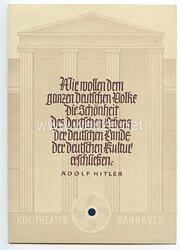 """III. Reich - farbige Propaganda-Postkarte - """" KdF-Theater Hannover - Werbeschau anlässlich des Geburtstags des Führers 19./20.4.1941 """""""