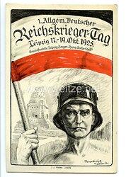 """III. Reich - farbige Propaganda-Postkarte - """" 1. Allgem. Deutscher Reichskrieger-Tag Leipzig 17.-19. Okt. 1925 """""""