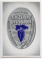 "III. Reich - farbige Propaganda-Postkarte - "" Enzian-Division 1940-1944 / Serbien-Ukraine-Kaukasus-Kubanbrückenkopf """