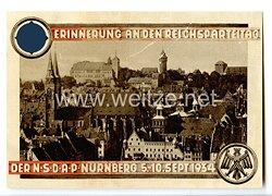 """III. Reich - farbige Propaganda-Postkarte - """" Erinnerung an den Reichsparteitag der NSDAP Nürnberg 5.-10.Sept.1934 - Stadtansicht mit Sebalduskirche und Burg """""""